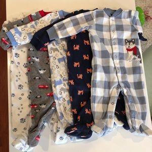 Baby Boy Fleece Footy Pajamas Bundle